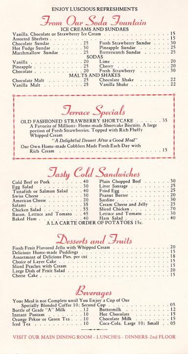 Terrace restaurant menu 1940s chicago illinois for Terrace bar menu