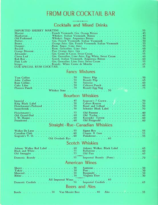 terrace restaurant menu 1940s chicago illinois