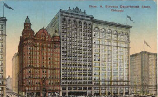 Stevens Dept Store Chicago Il Vintage Postcard